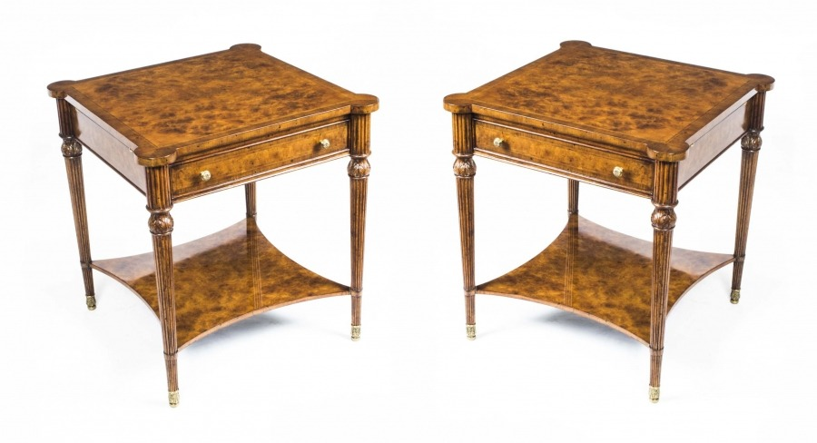Pair Burr walnut Side Tables