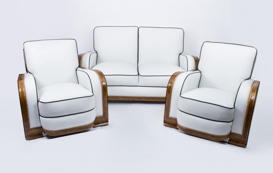 Art Deco Ivory Leather 3 Piece Suite c.1930