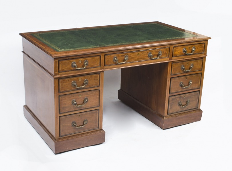 Antique Edwardian Pedestal Desk c.1900