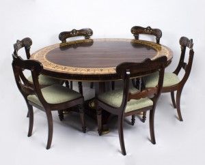 07558a-antique-5ft-diam-calamander-table-6-regncy-dining-chairs-1