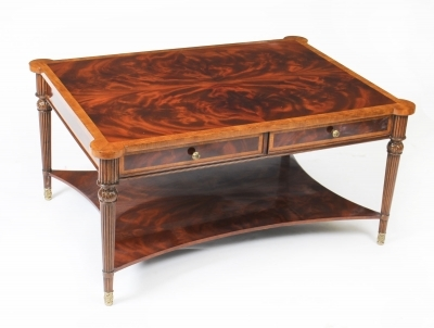 Details About Elegant Flame Mahogany Coffee Table With Four Drawers 20th C