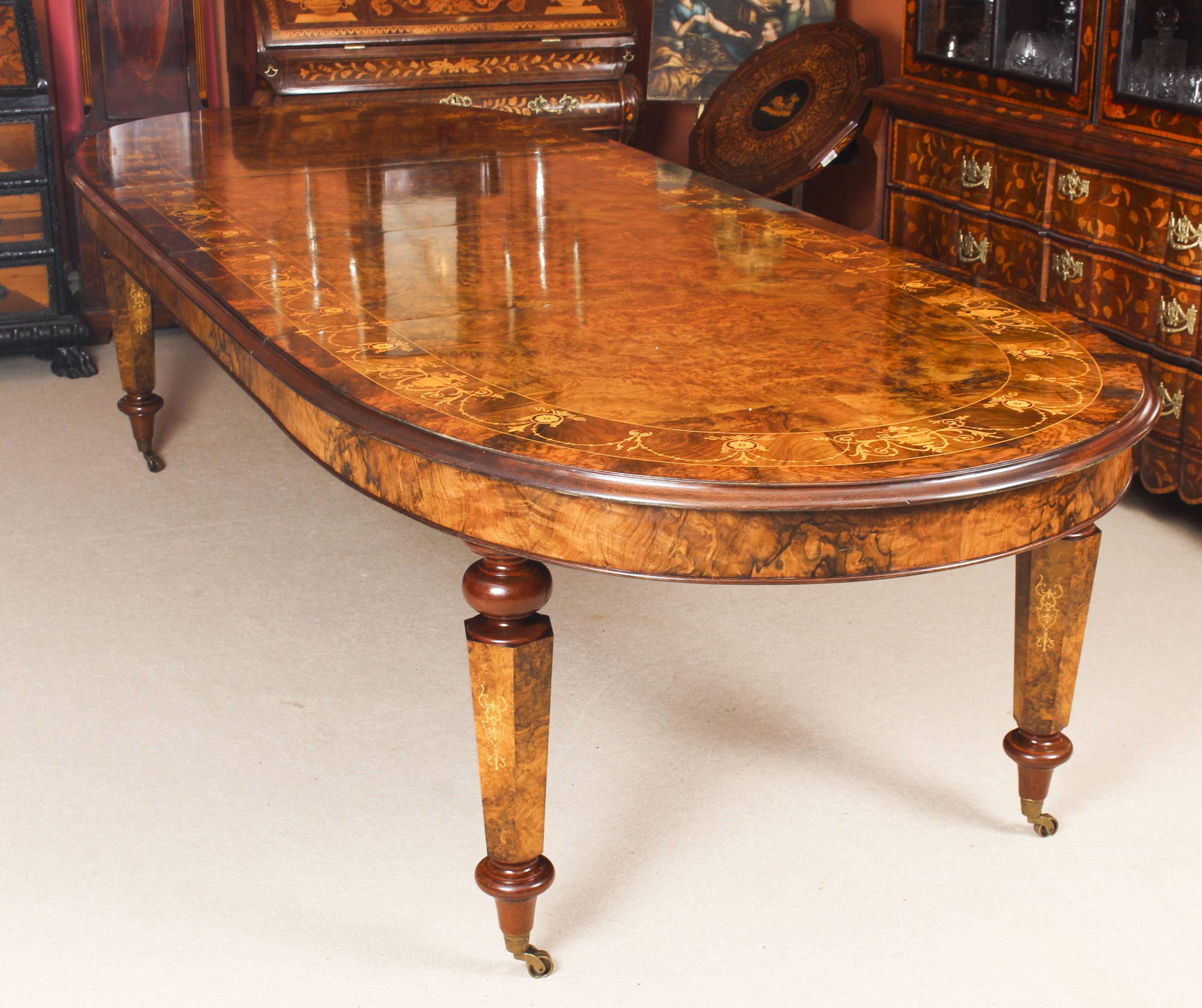 Large Oval Marquetry Dining Table Bespoke Burr Walnut  : 00059 Stunning Bespoke Handmade Burr Walnut 10ft Oval Marquetry Dining Table 1 from www.regentantiques.com size 768 x 768 jpeg 37kB