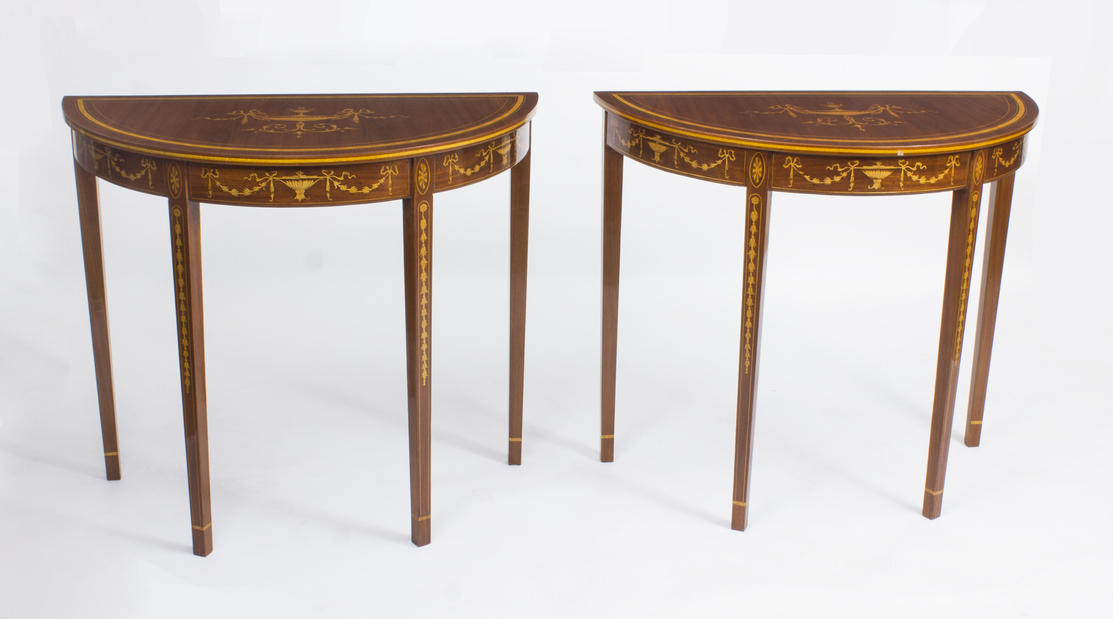 Pair of sheraton style mahogany half moon console tables for Half moon console table
