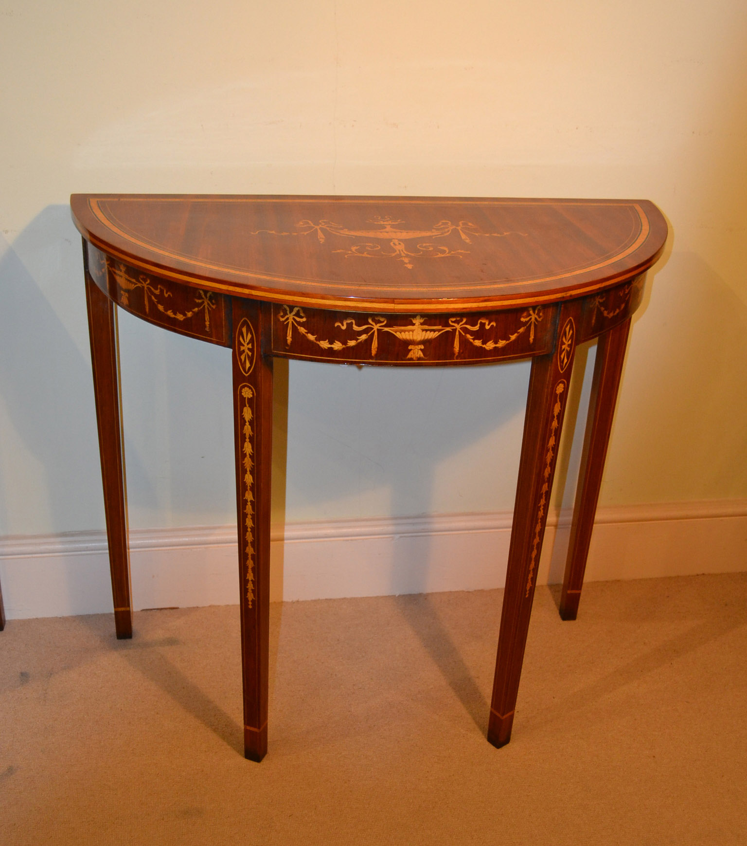 Regent antiques console tables pair of sheraton for Half moon console table