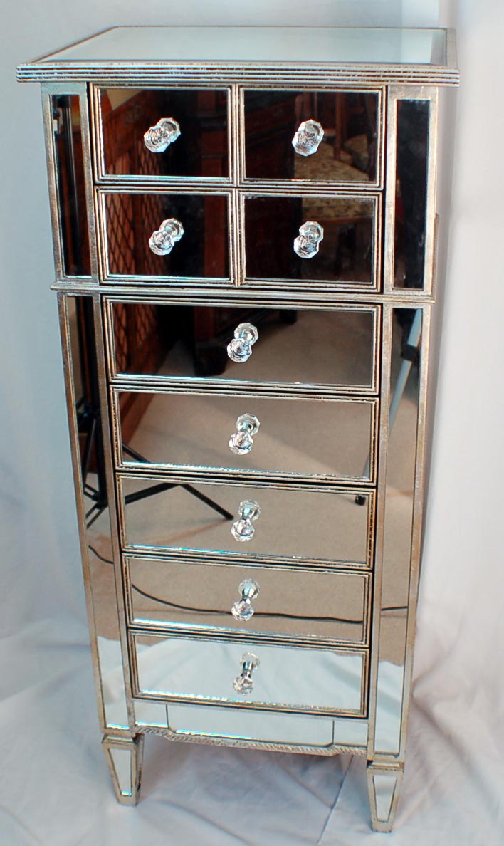 Art Deco Mirrored Tall Chest Drawers Silver Show Wood