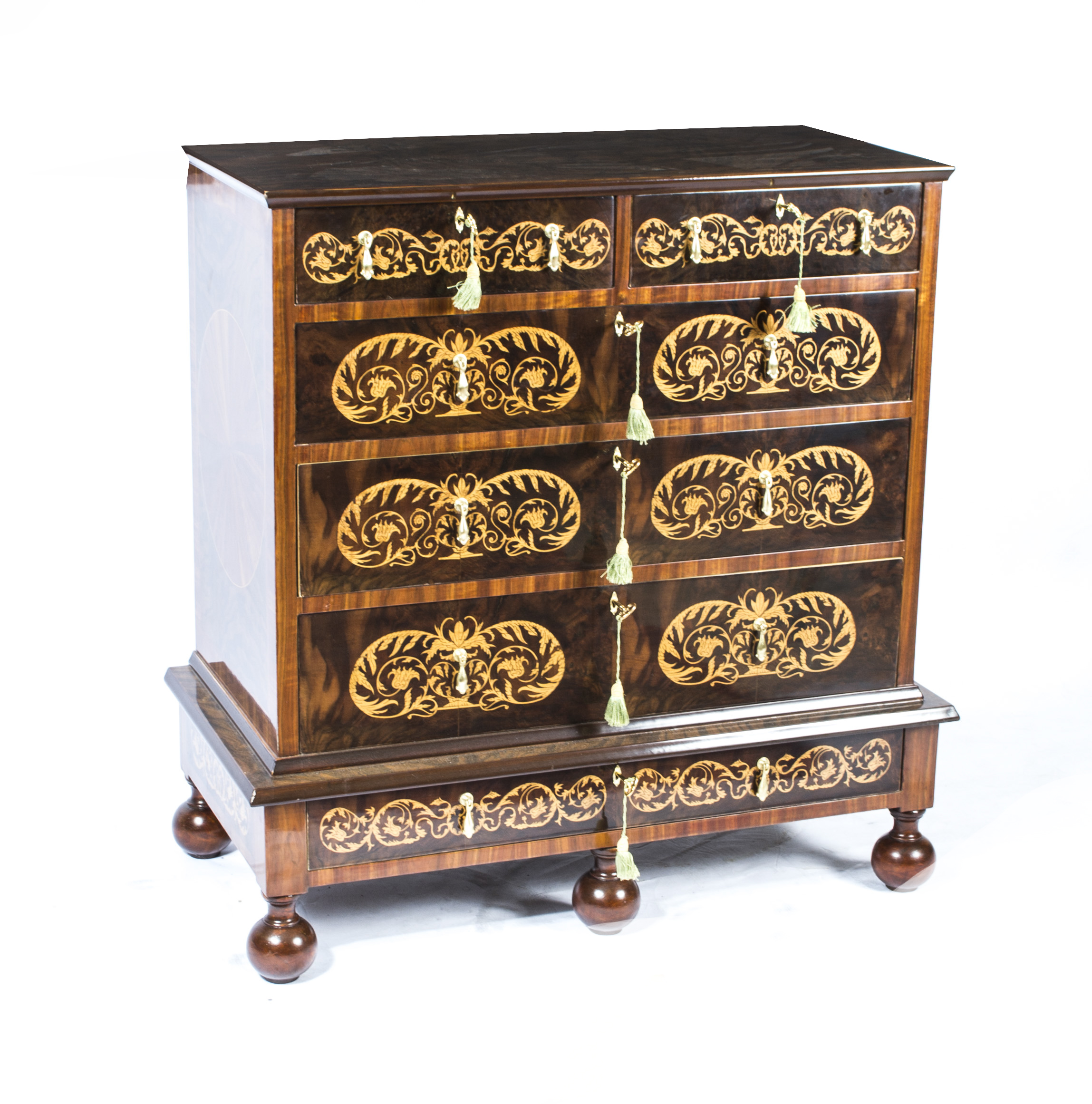 Queen Anne Style Walnut Marquetry Chest Drawers