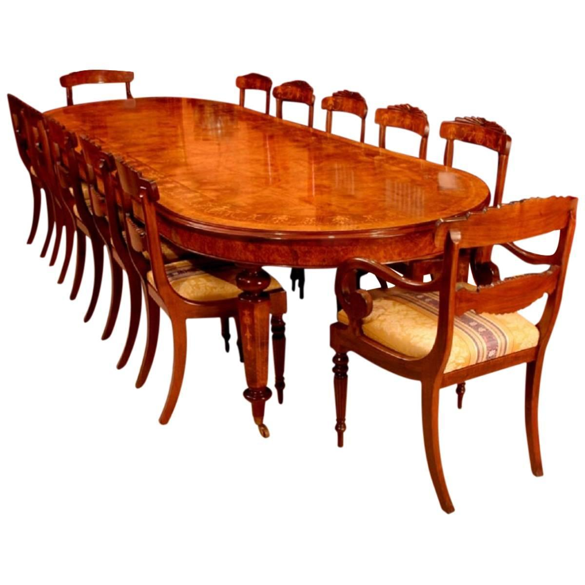 12 Foot Dining Room Tables: 12ft Burr Walnut Marquetry Dining Table & 12 Chairs