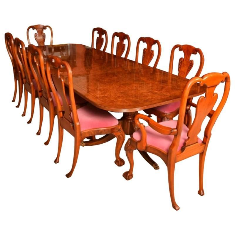 Dining Table Set For 10: Burr Walnut 10ft Regency