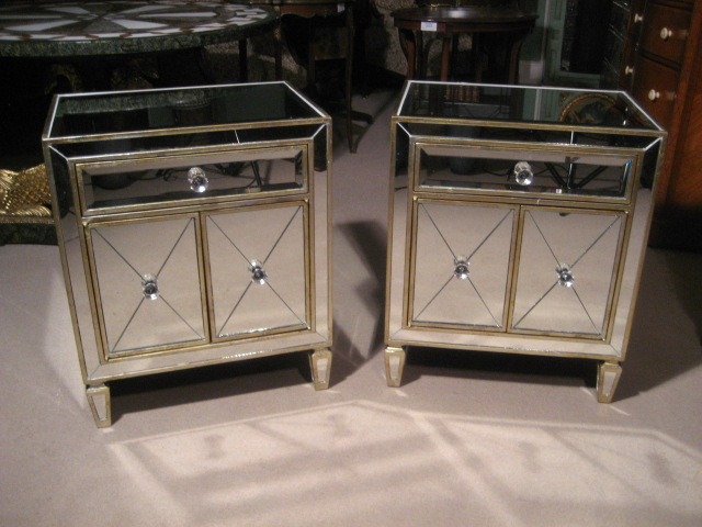 Pair of art deco style mirrored bedside tables cabinets for Mirror bedside cabinets