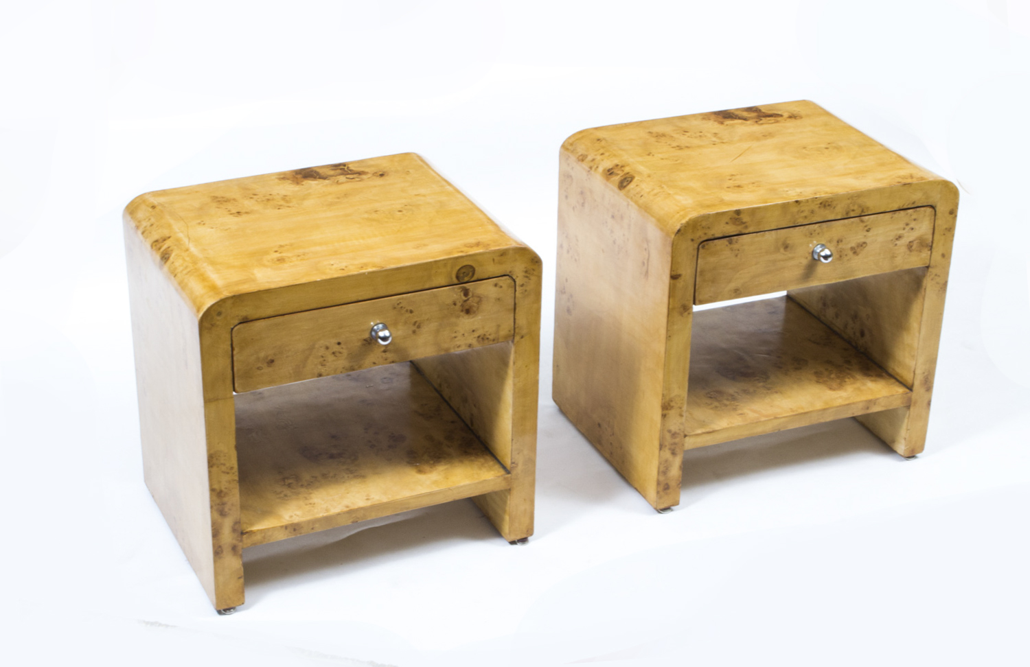 A Pair Of Art Deco Cabinets In Birdseye Maple | Art Deco Bedside Cabinets |  Ref. No. 01487a