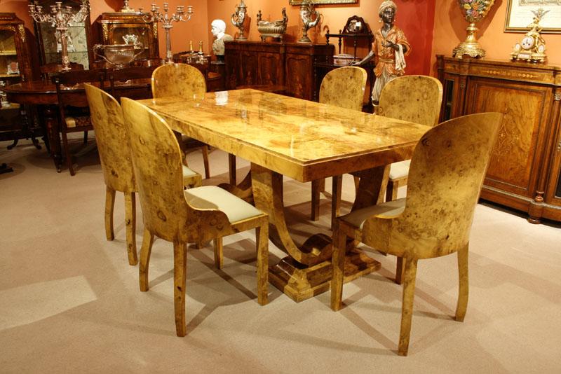Stunning Art Deco Birdseye Maple Dining Table 6 Chairs