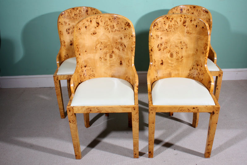 Stunning Set 4 Art Deco Birdseye Maple Dining Chairs Ref