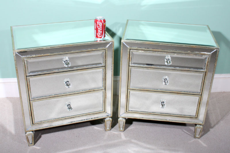 Mirror Bedside Table : ... mirrored furniture - Pair Art Deco Style Mirrored Bedside Tables