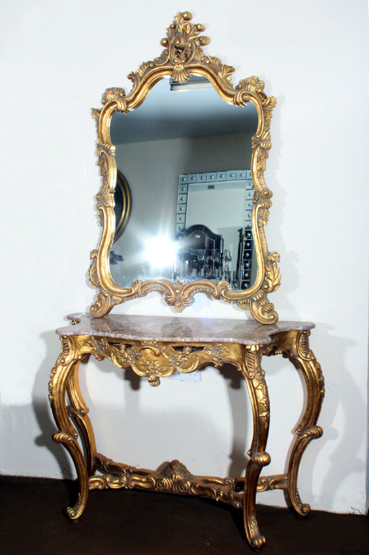 Ornate french louis xv giltwood console table mirror - Ornate hall table ...