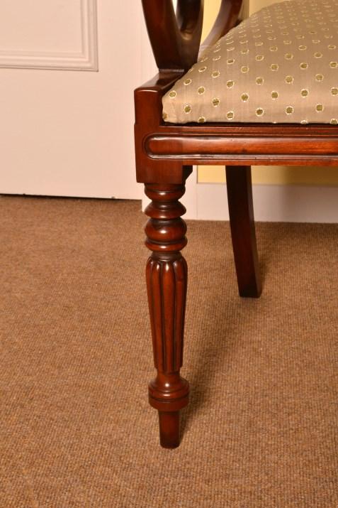 01967a Grand Set 10 English Regency Dining Chairs Bar Back 13