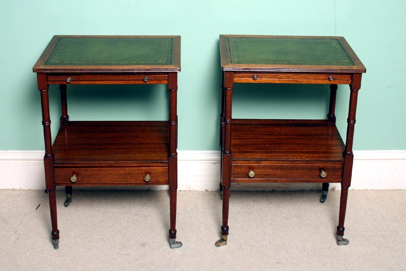 Pair Vintage English Mahogany Side Tables c19