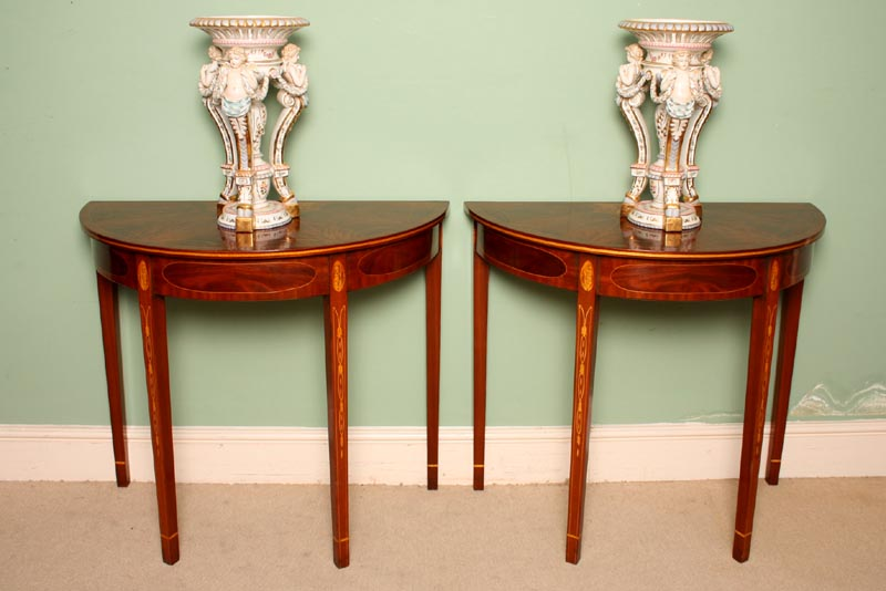Pair Inlaid Sheraton Ref No 02575a Regent Antiques
