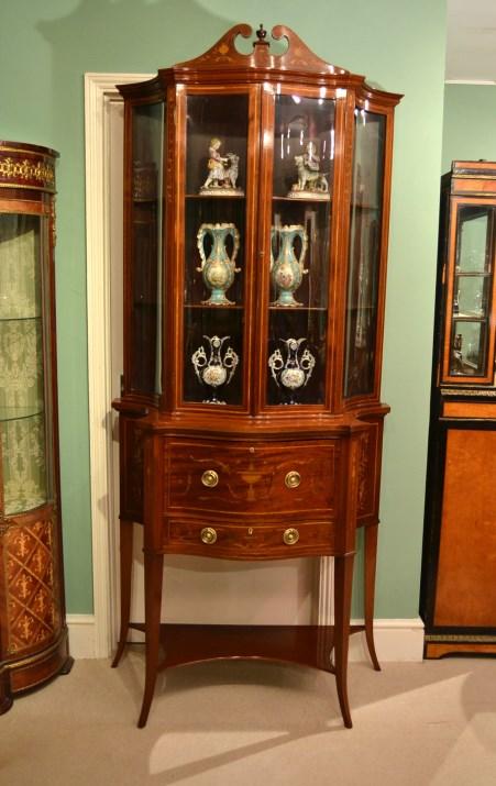 - Antique Edwardian Inlaid Display Cabinet C.1880