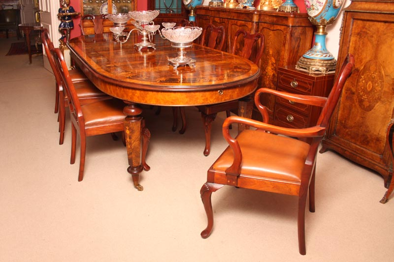 Victorian Burr Walnut Dining Table 8 Queen Anne Chairs