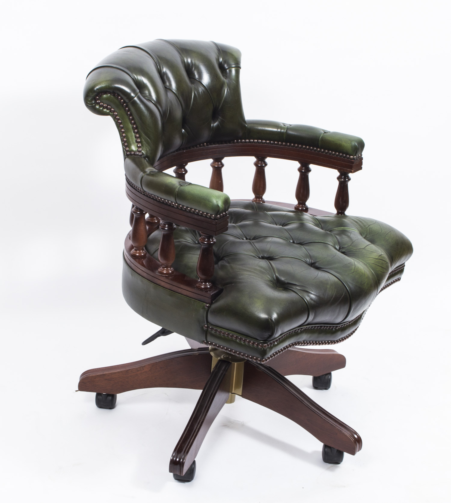 English Hand Made Leather Captains Desk Chair Olive Green Ref No 02839