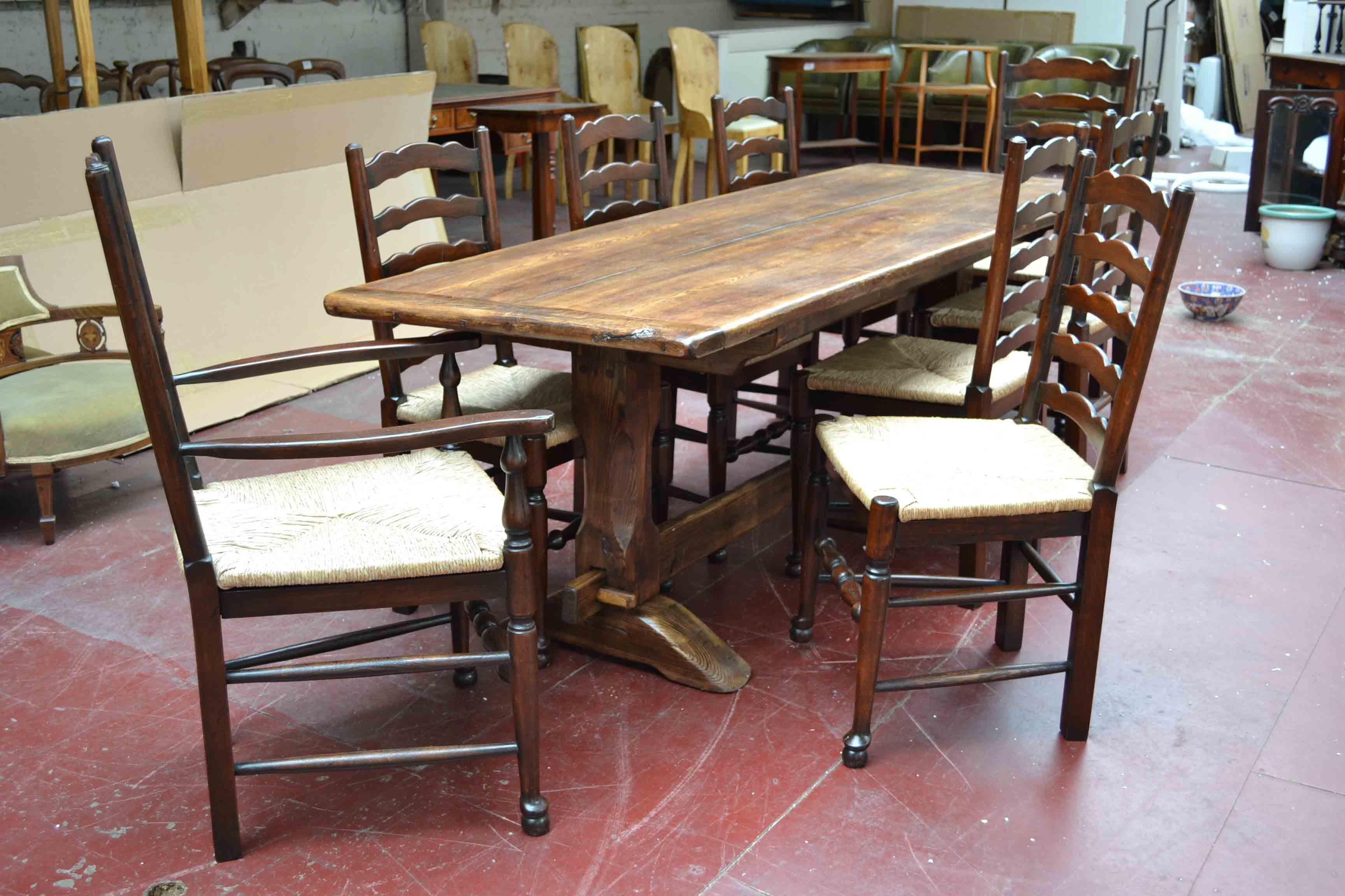 02948 Vintage 7ft 6  Oak Refectory Dining Table & 8 Chairs 1. Full resolution  portraiture, nominally Width 3456 Height 2304 pixels, portraiture with #694136.