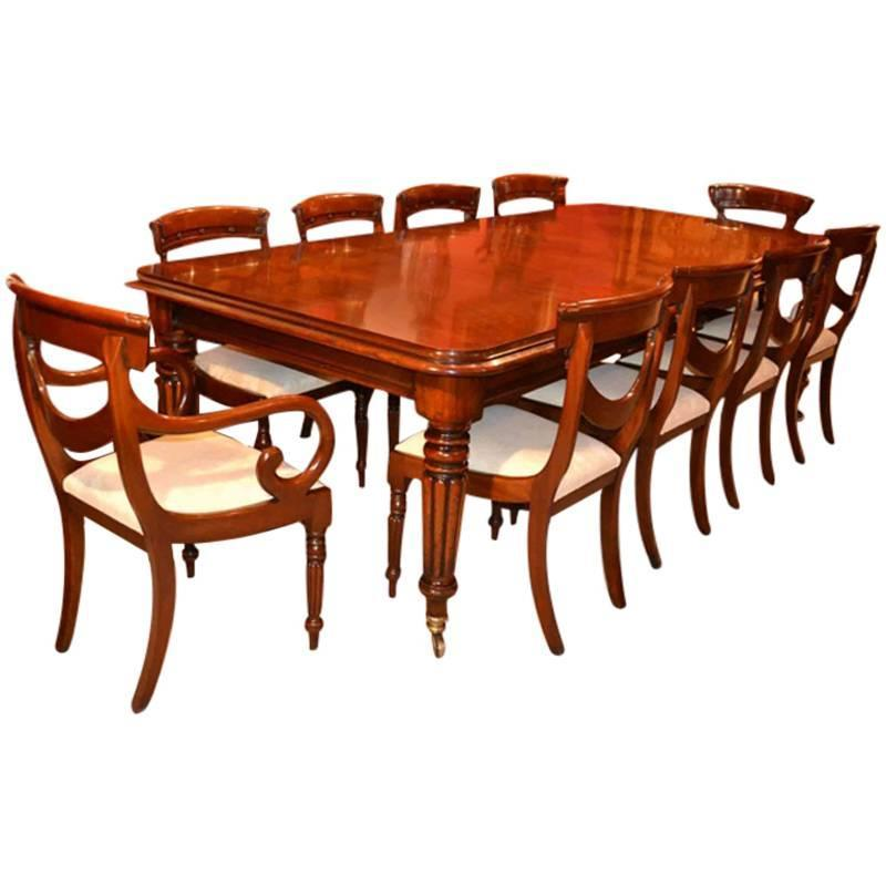 Regency Style Dining Table 10 Swag Back Chairs