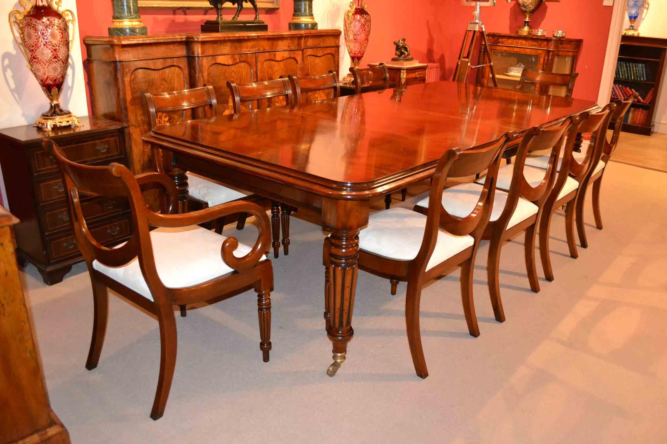 English Regency Dining Table 10 Regency Drape Chairs