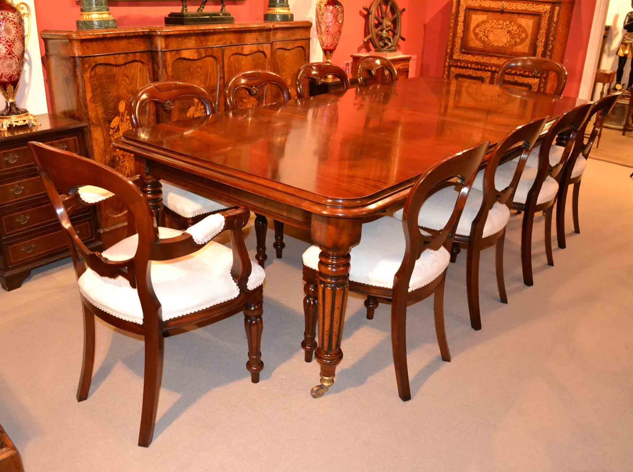 English Regency Dining Table 10 Ballon Back Chairs
