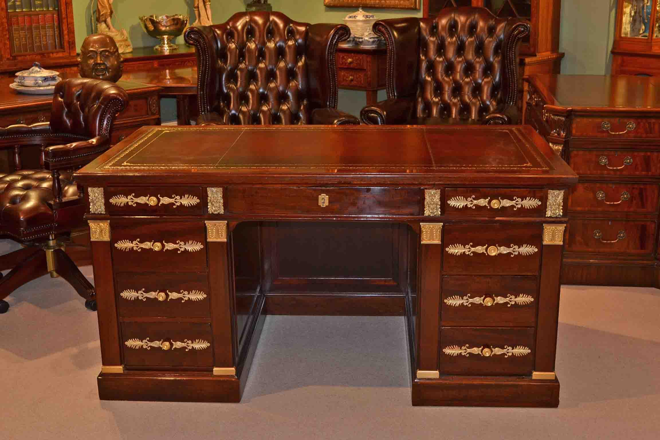 Antique French Empire Ormoulu Mounted Pedestal Desk Ref