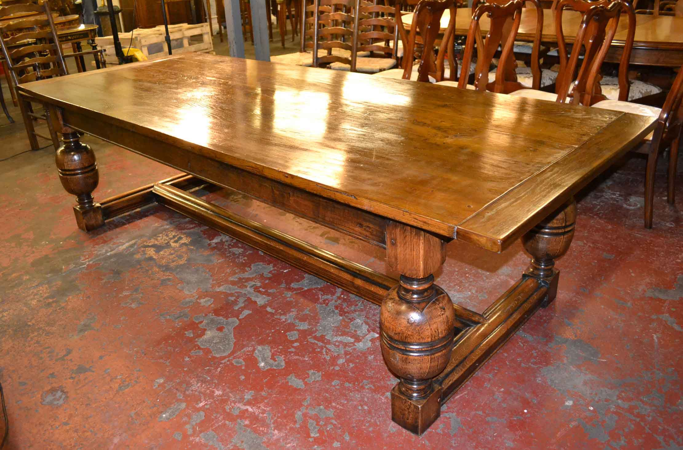Vintage solid oak refectory dining table