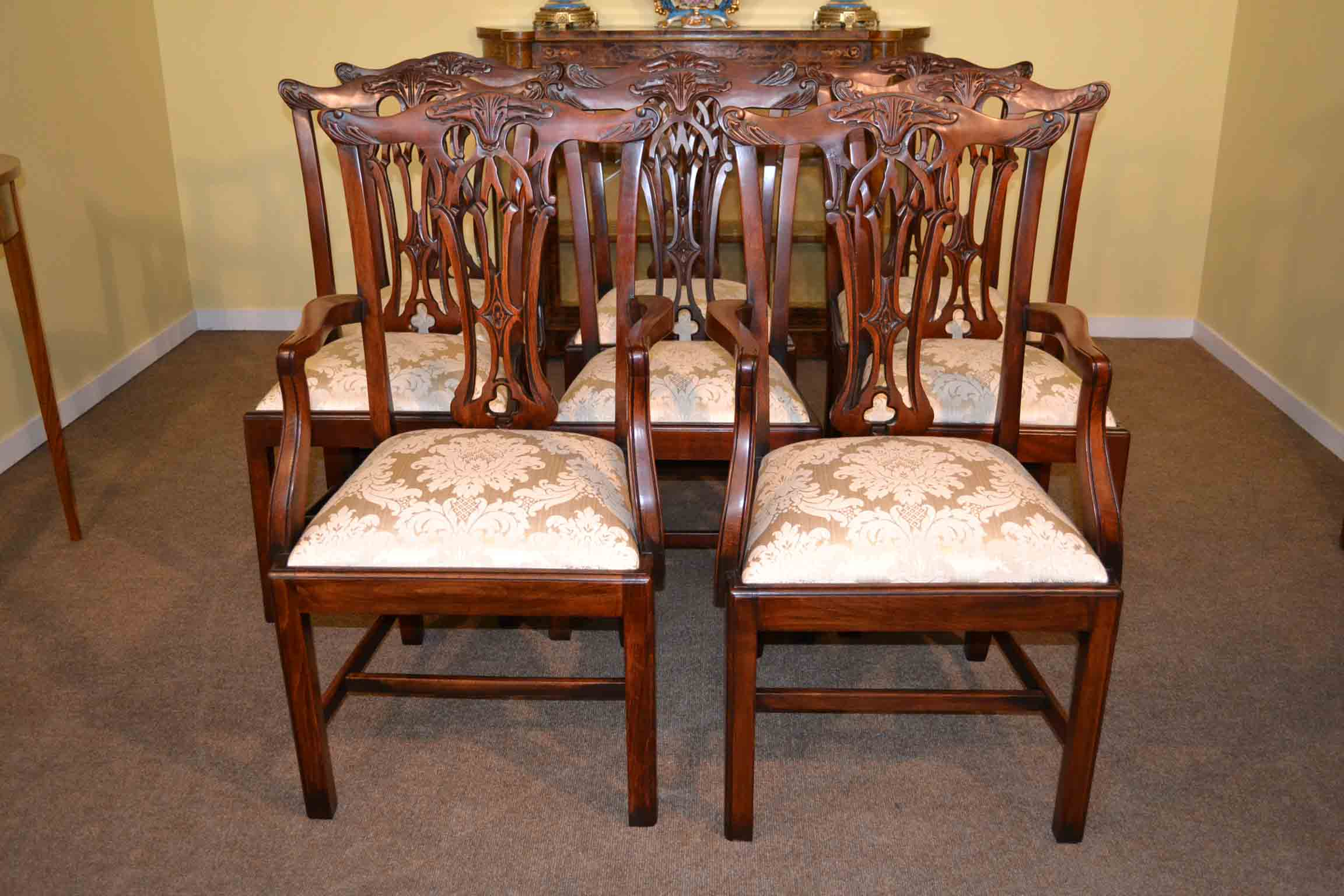 Set 8 Vintage Dining Chairs Mahogany Chippendale