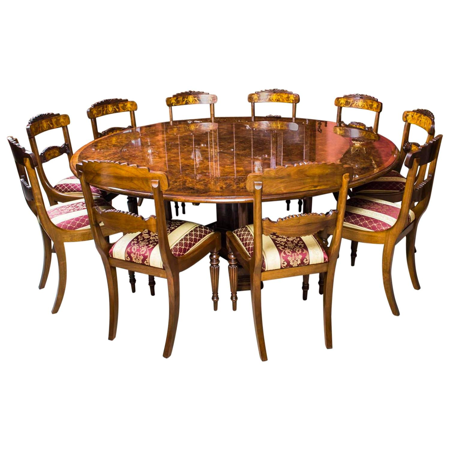 03135c 7ft diameter burr walnut jupe dining table 10 chairs 1