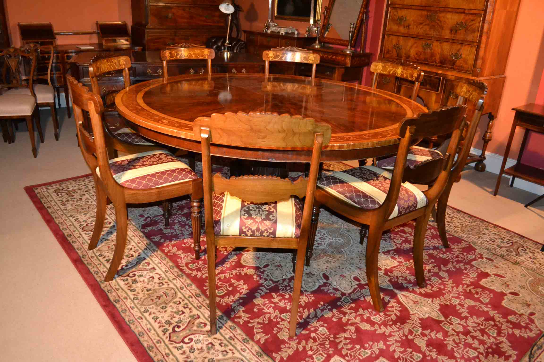 Vintage dining table 8 chairs 6 ft round mahogany for Dining table and 8 chairs