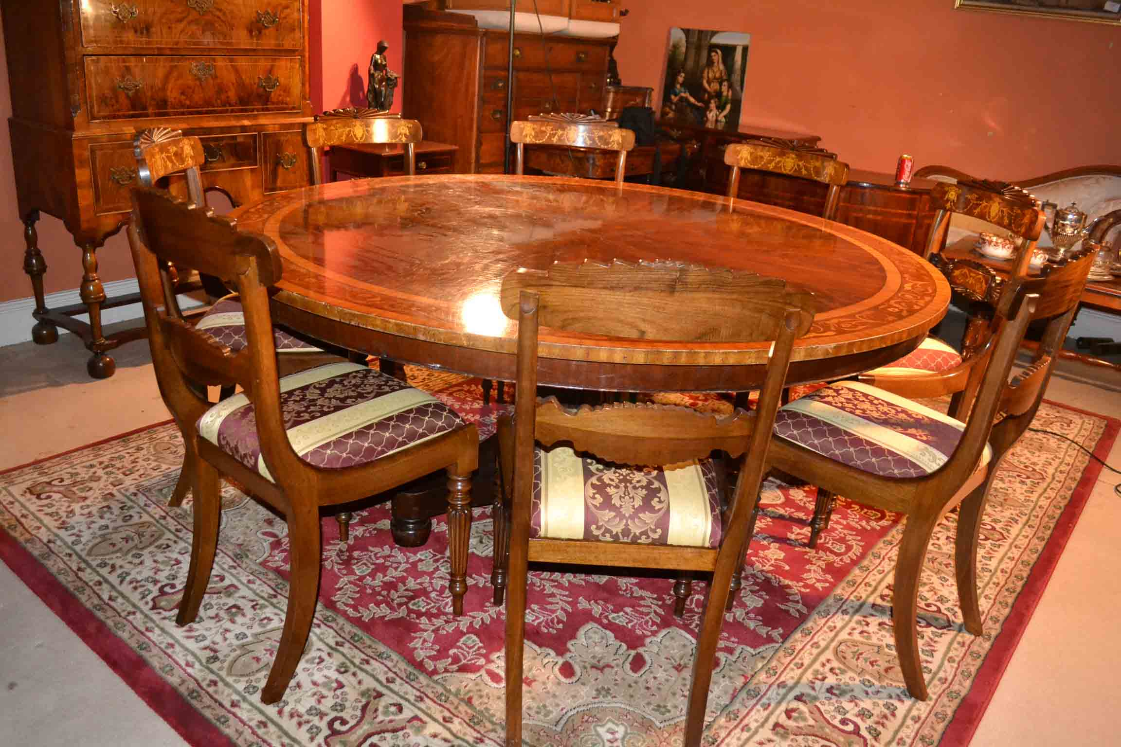 Regent antiques dining tables and chairs table and for Round dining table for 6