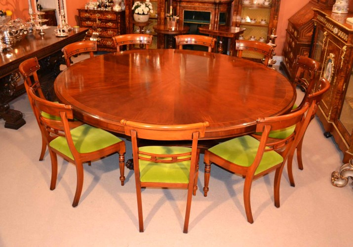 Vintage dining table 10 chairs 7 ft round mahogany for 10 foot round table