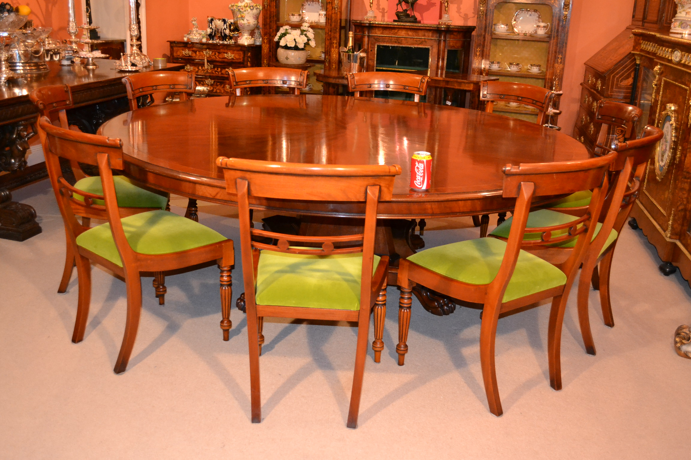 Regent antiques dining tables and chairs table and Round dinner table for 10