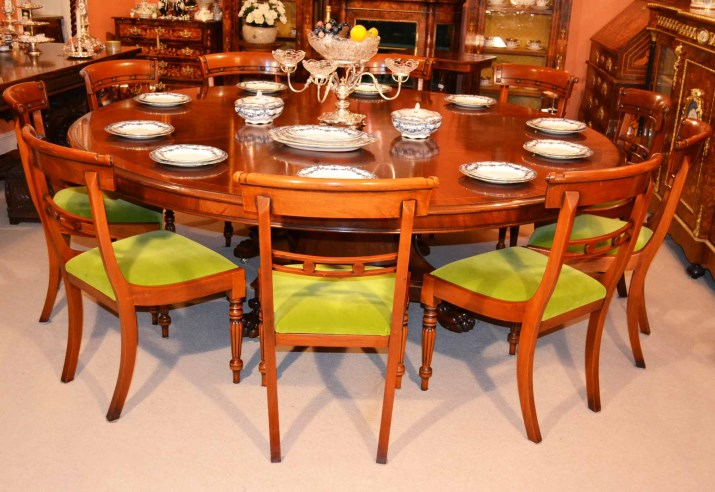 ... Table and chair sets - Vintage Dining Table & 10 Chairs 7 ft Round