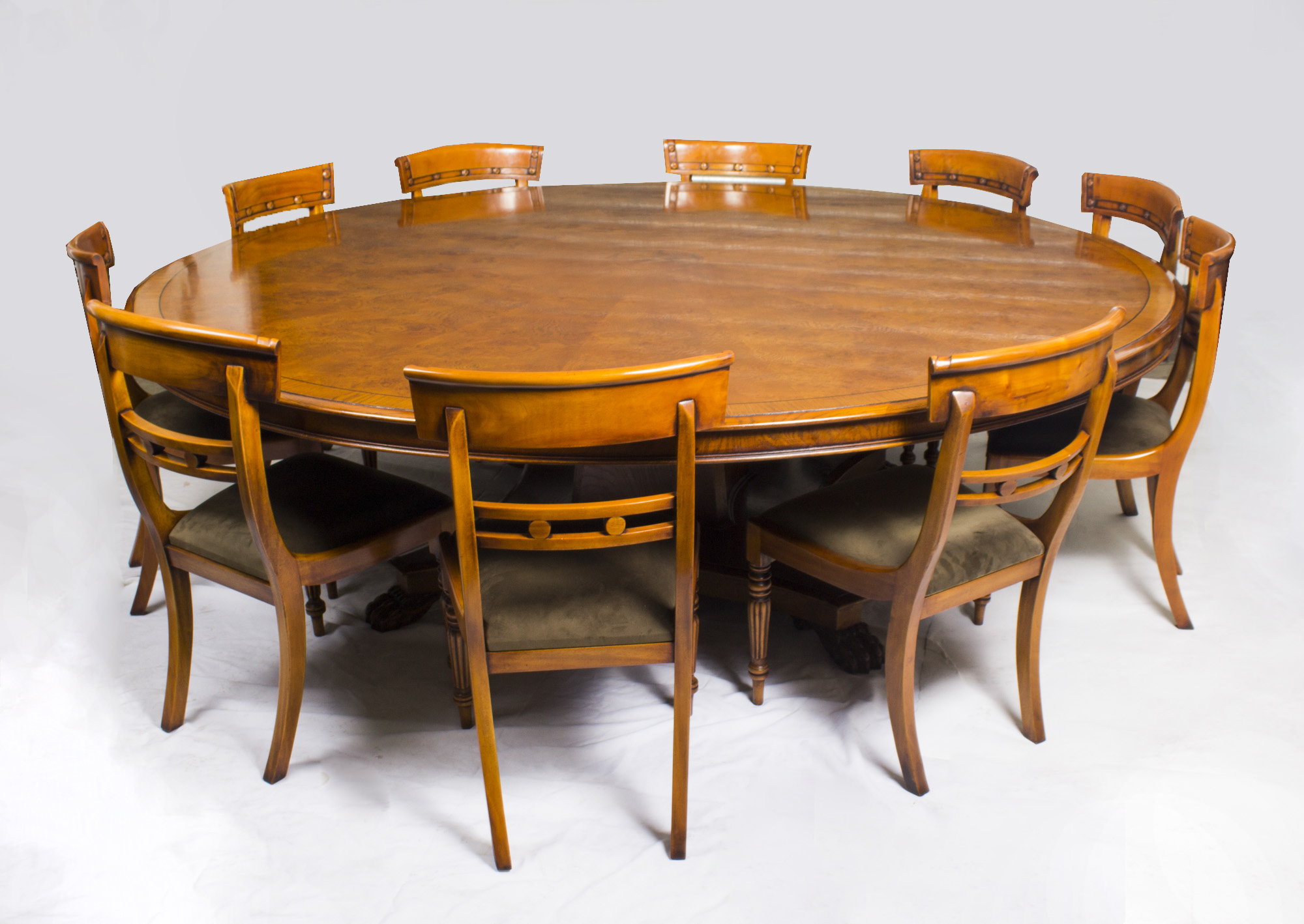 Vintage dining set 8ft diam pollard oak table 10 chairs for Hades dining table th8