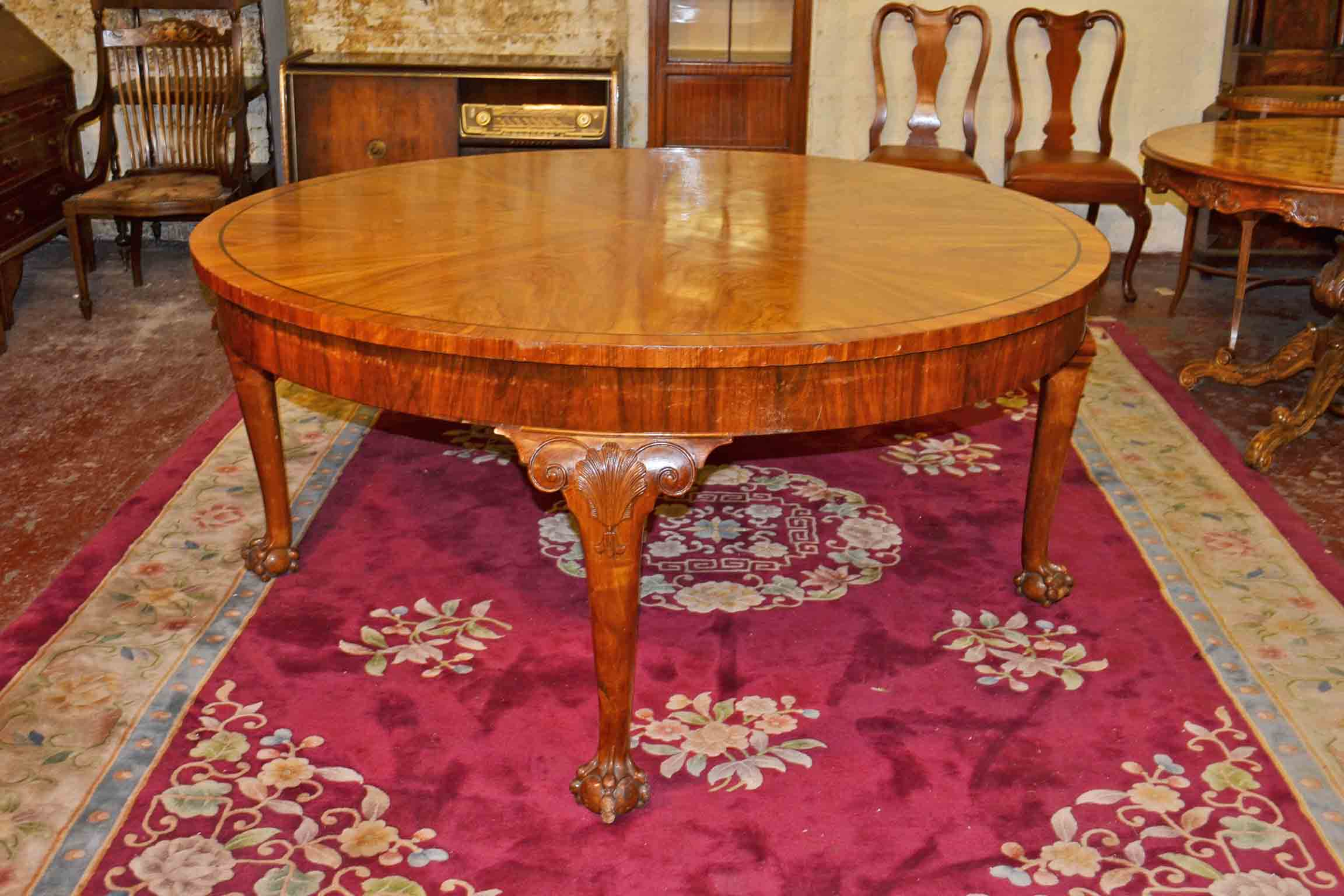 Vintage queen anne dining table 5 ft round ref no 03167 for 6 foot round dining table