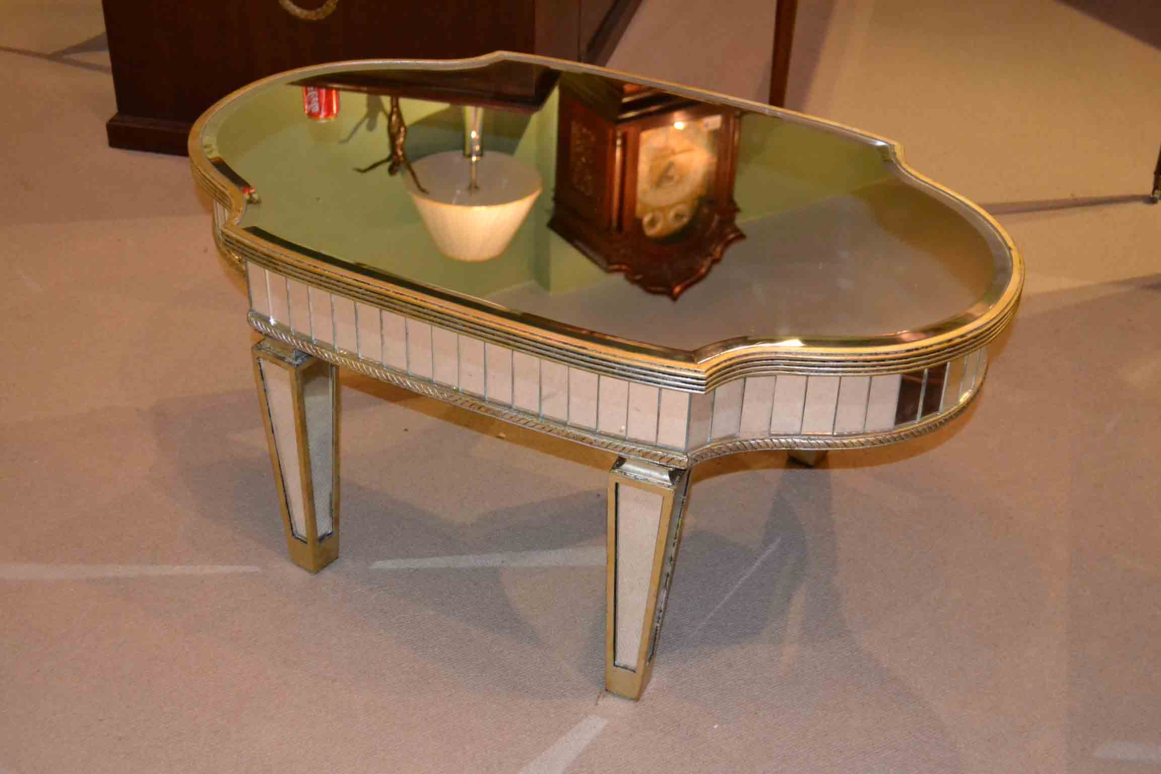 Regent Antiques Coffee Tables Stunning Art Deco Mirrored Oval Coffee Table