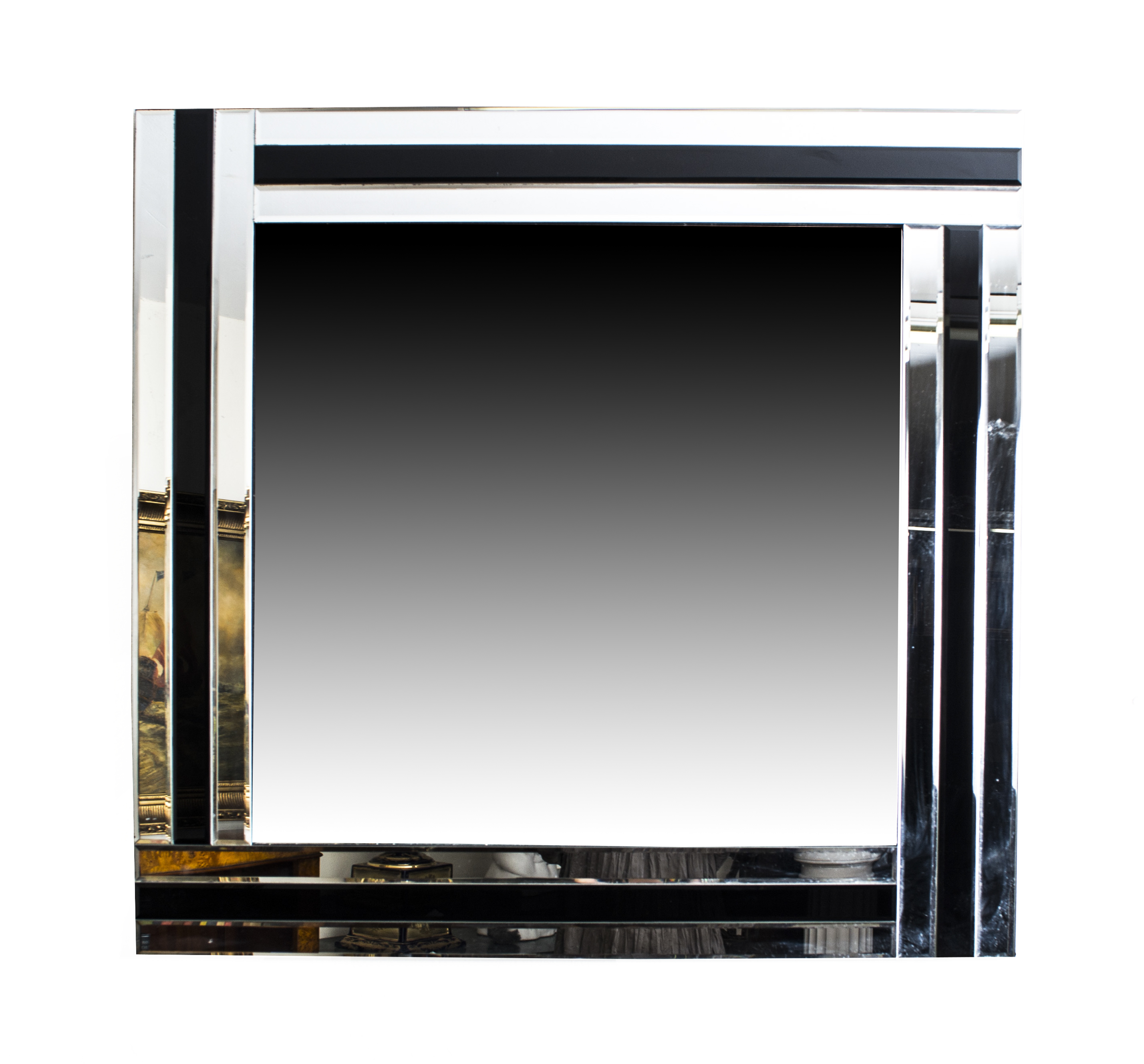 Cool and chic silver and ebony square art deco mirror 90 x for Miroir 90x90