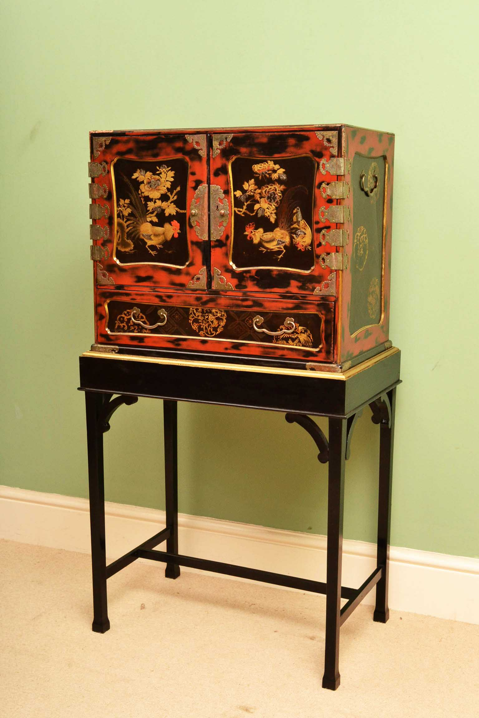 - Antique Japanese Lacquered Cabinet On Stand C1900