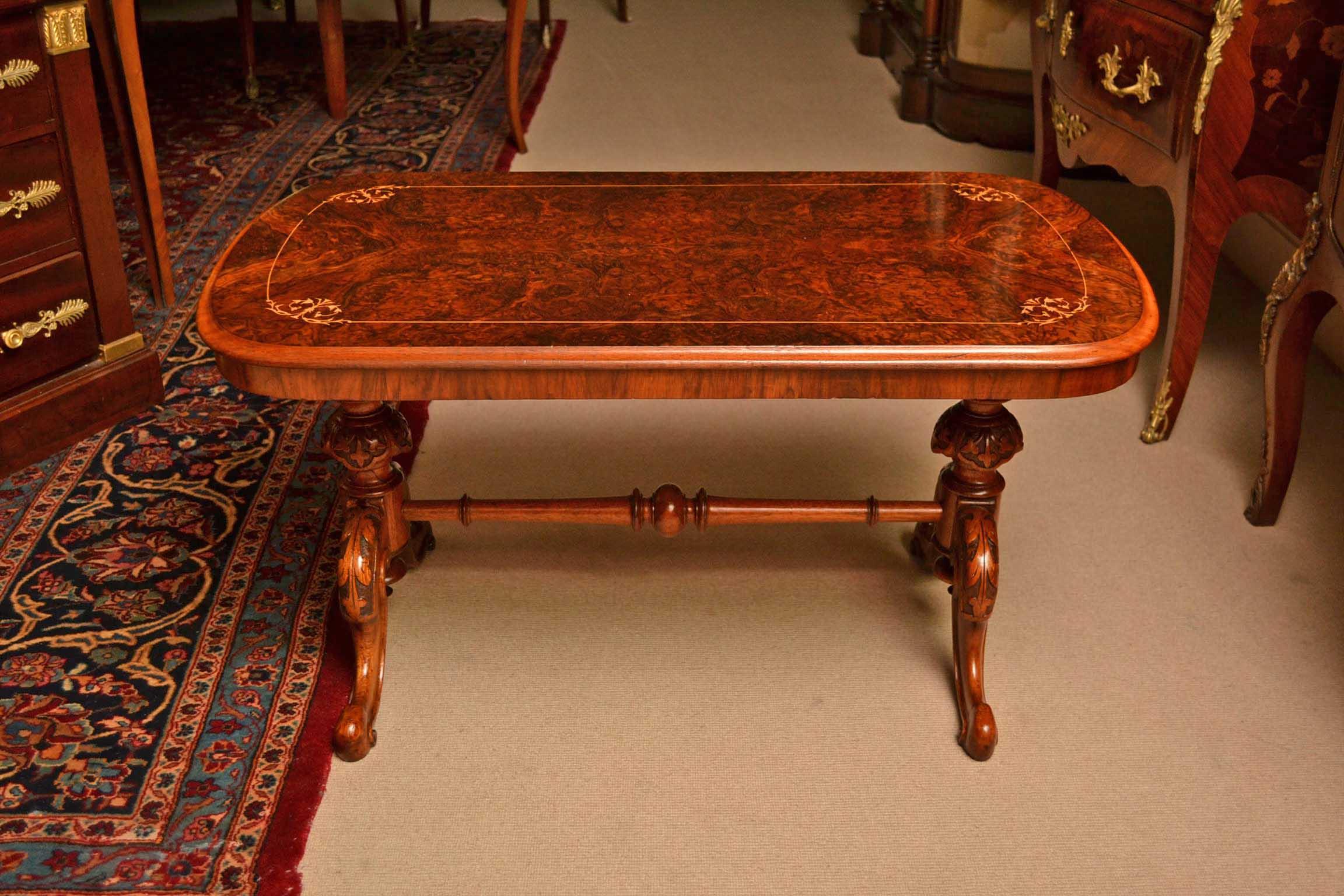 Antique Victorian Cabriole Burr Walnut Coffee Table
