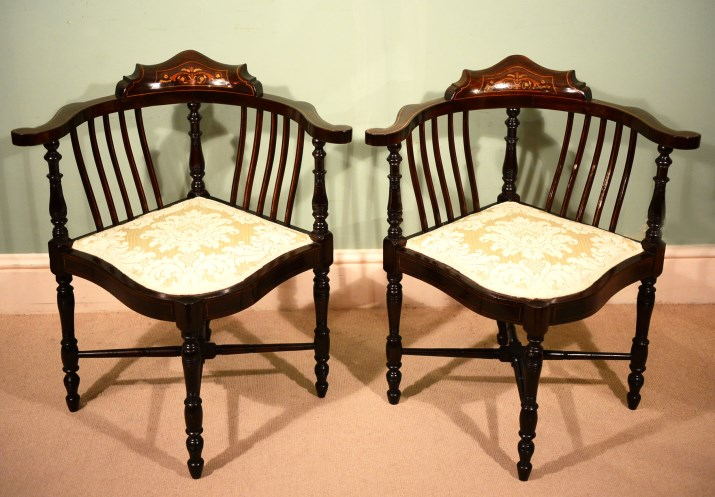 - Antique Pair Of Edwardian Corner Chairs C.1900