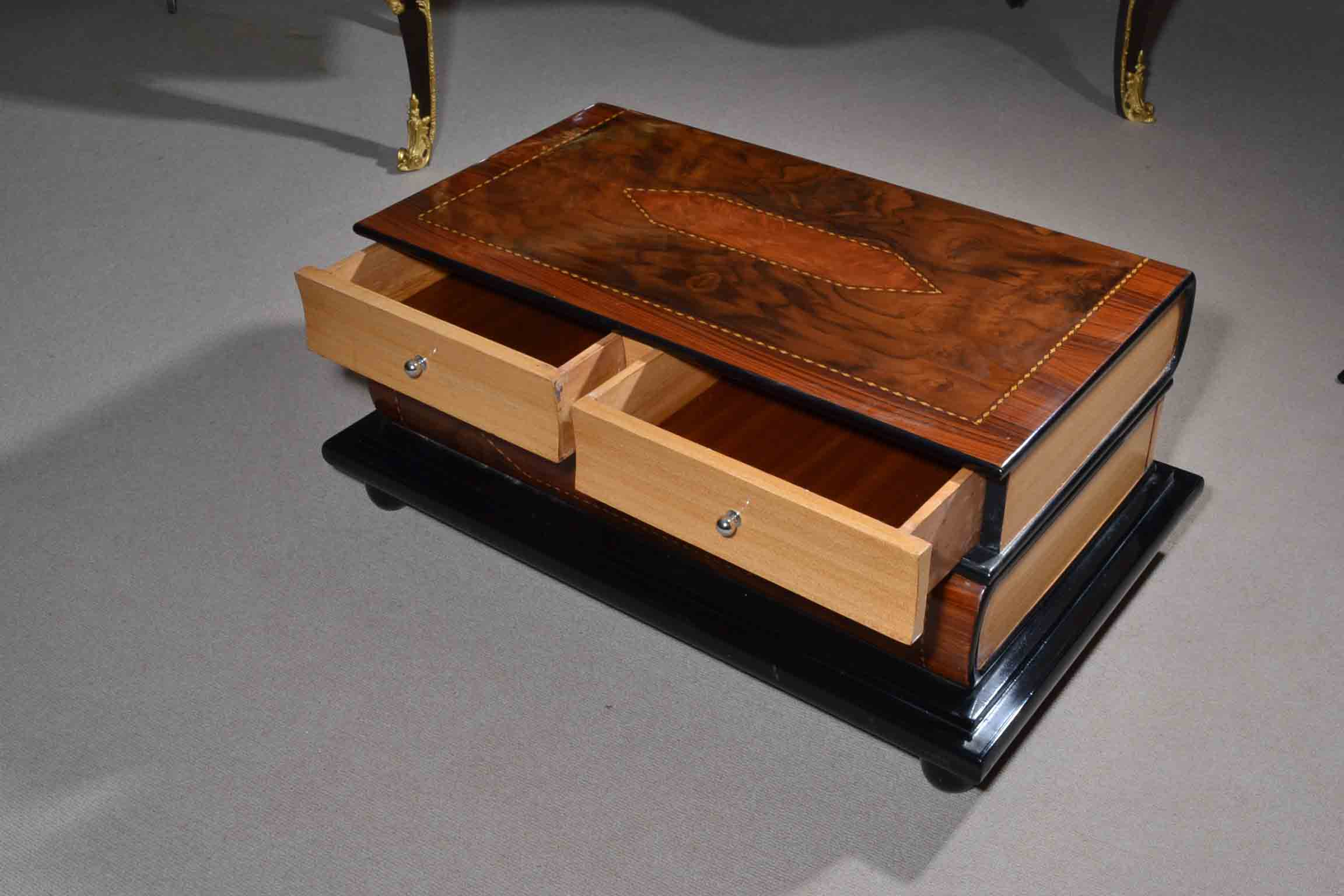 Coffee Tables Unusual Inlaid Burr Walnut Satin Birch Coffee Table
