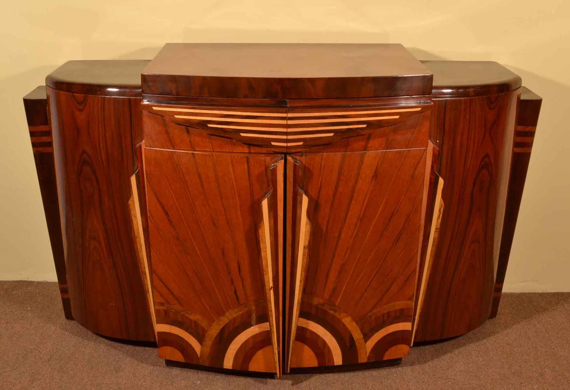 Art Deco 1920s Style Rosewood Drinks Cabinet Bar