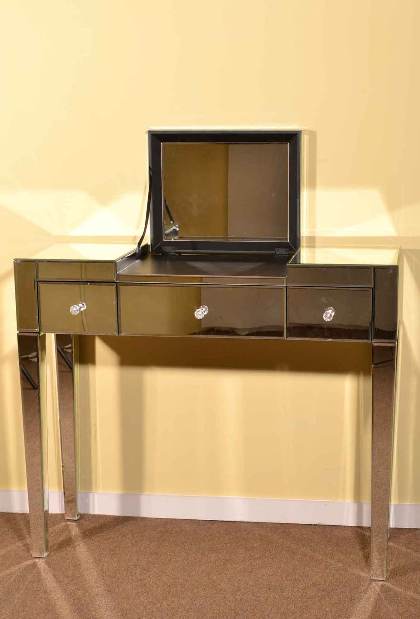 Art deco minimalist mirrored dressing table with mirror for Dressing table 85cm