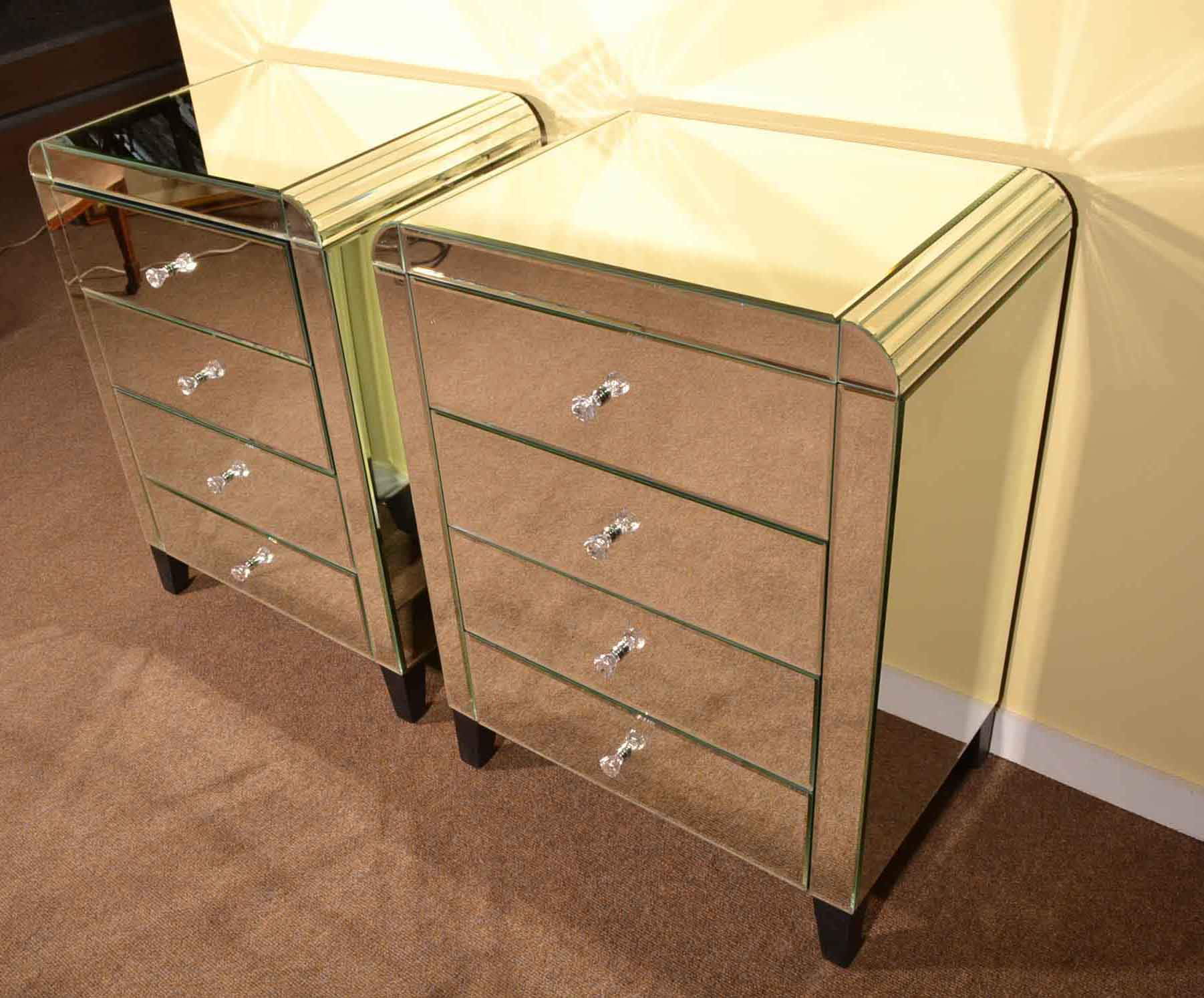 Regent antiques bedside cabinets pair art deco for Mirror bedside cabinets