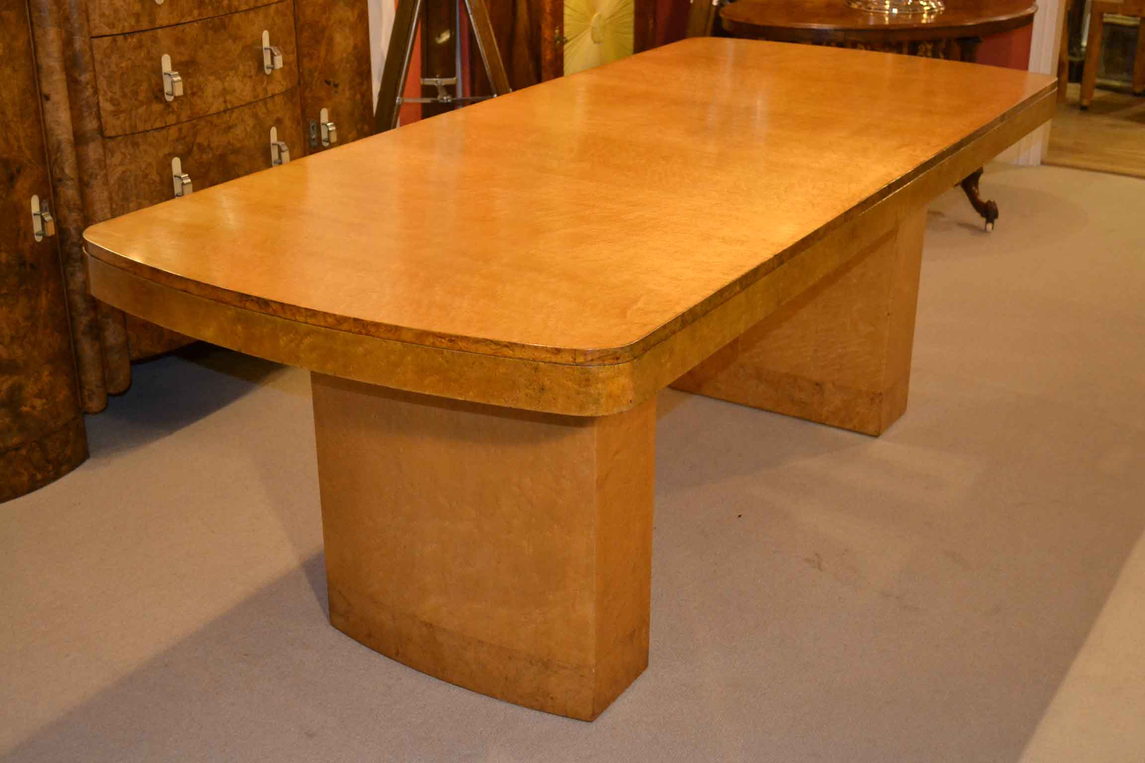 Antique Art Deco Birdseye Maple Dining Table C1920