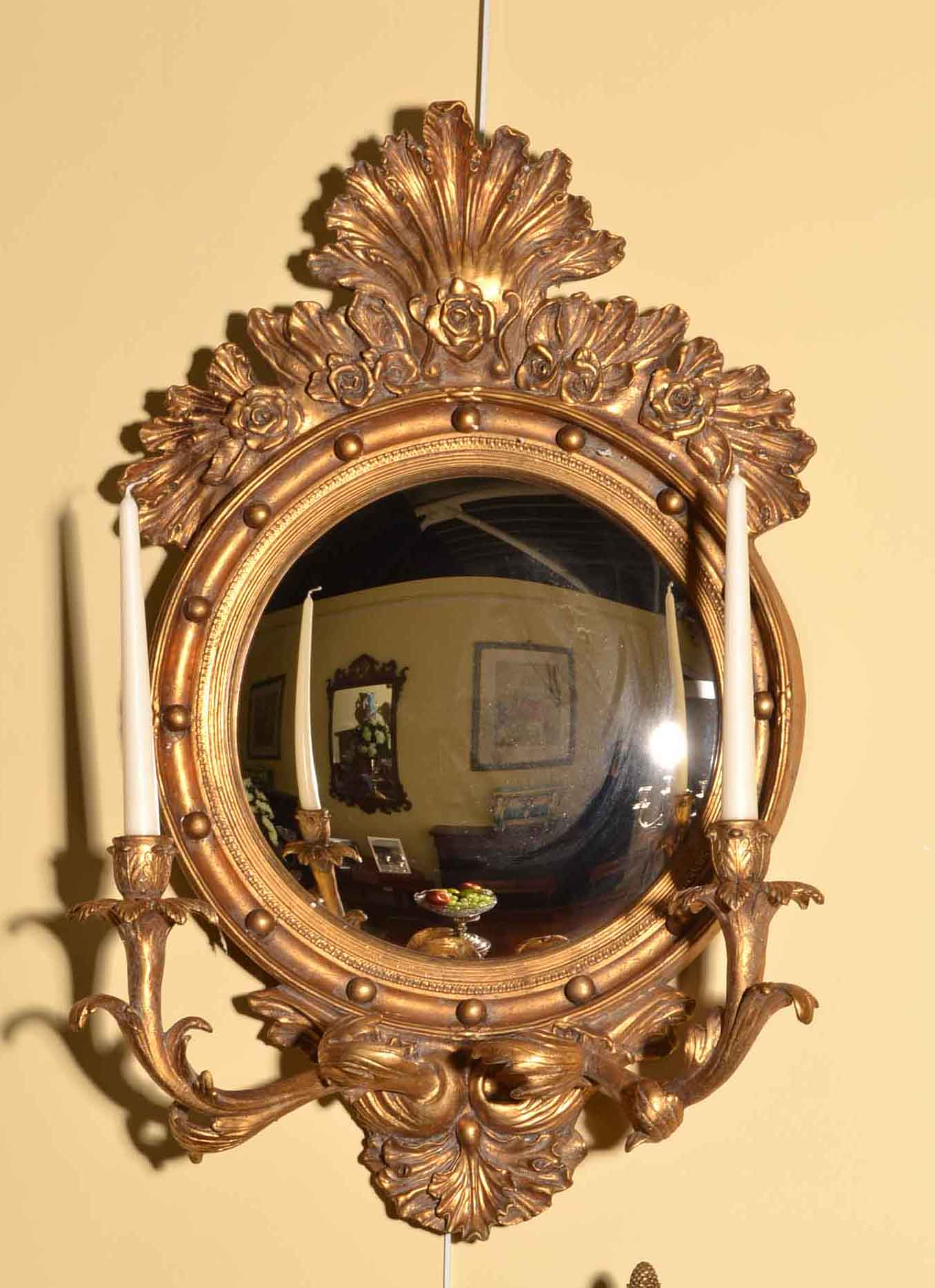Regent antiques mirrors stunning italian gilded convex for Mirror holders